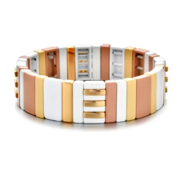 Metalen boho armband big pastel