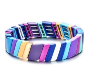 Metalen boho armband large purple