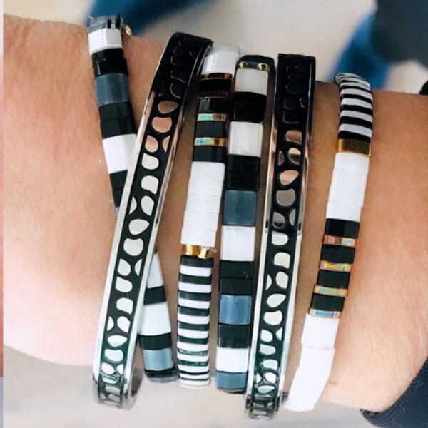 Miyuki armbanden zwart wit