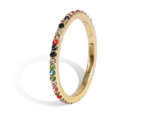 Multi color ring single goud