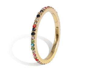 Multi color ring single goud
