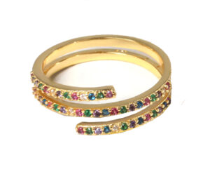 Multi color ring triple goud