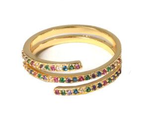 Multi color ring triple goud