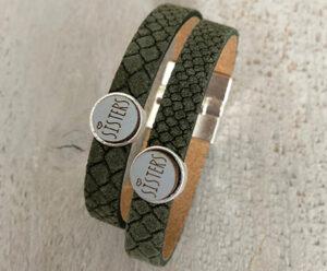 Sisters armbanden leer groenSisters armbanden leer groen