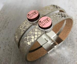 Sisters armbanden leer pink
