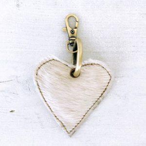 Sleutelhanger heart creme