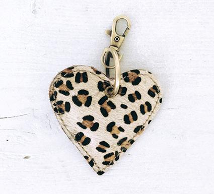 Sleutelhanger heart leopard