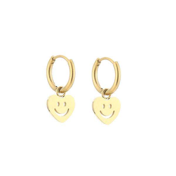 Smiley oorbellen goud