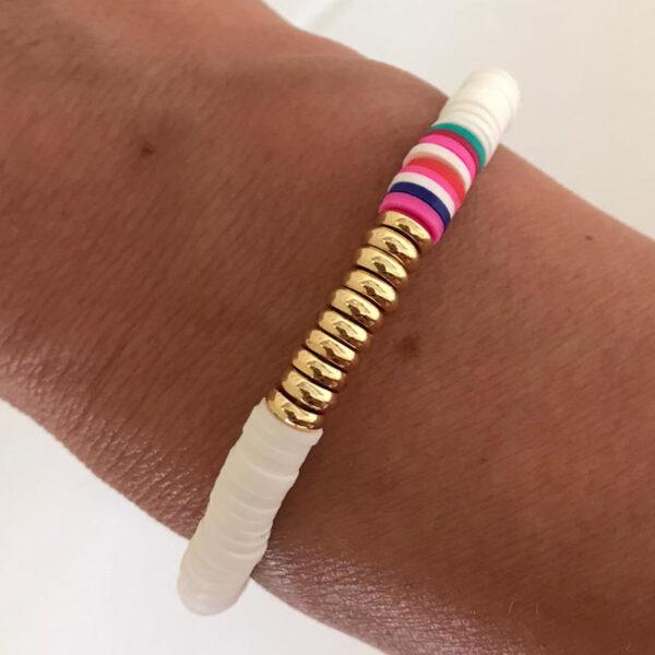 Surfkralen armband wit met goud