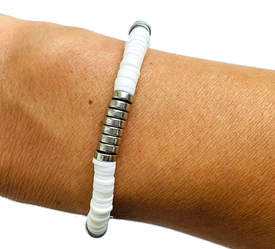 Surfkralen armband basic wit met zilver
