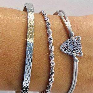 Zilveren armbanden set tijger