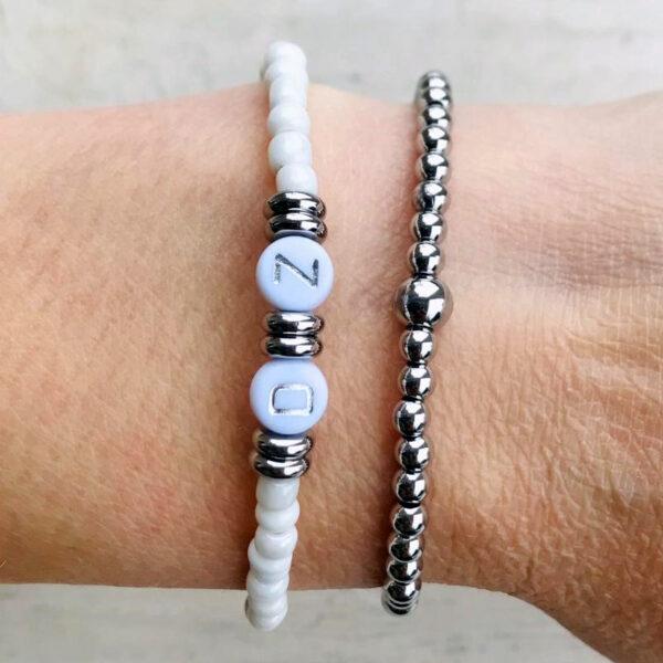 Armbanden set initial double zilver