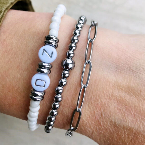 Armbanden set initial triple zilver