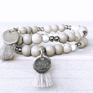 Zussen kralen armbanden grijs