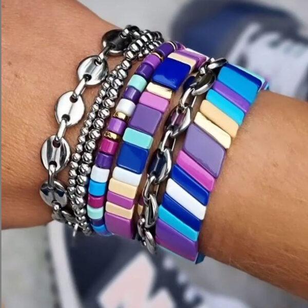 paarse boho armbanden metal