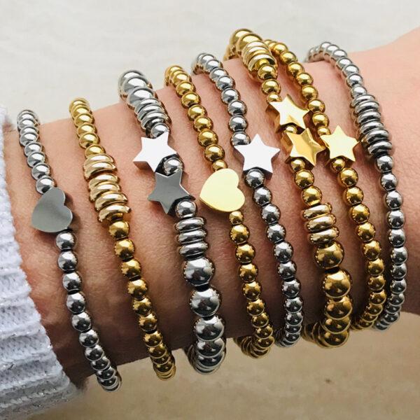 rvs kralen armbanden in goud en zilver